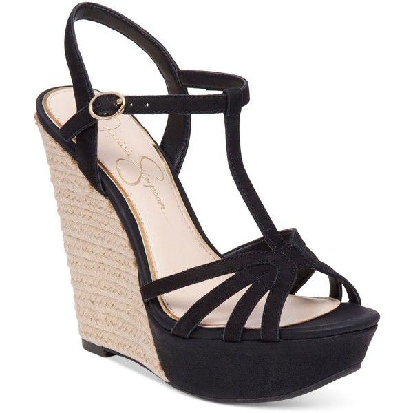 Jessica Simpson Bevin T-Strap Wedge Sandals ($89) ❤ liked on Polyvore featuring shoes, sandals, black, strap wedge sandals, wedges shoes, black shoes, t strap shoes and wedge sandals