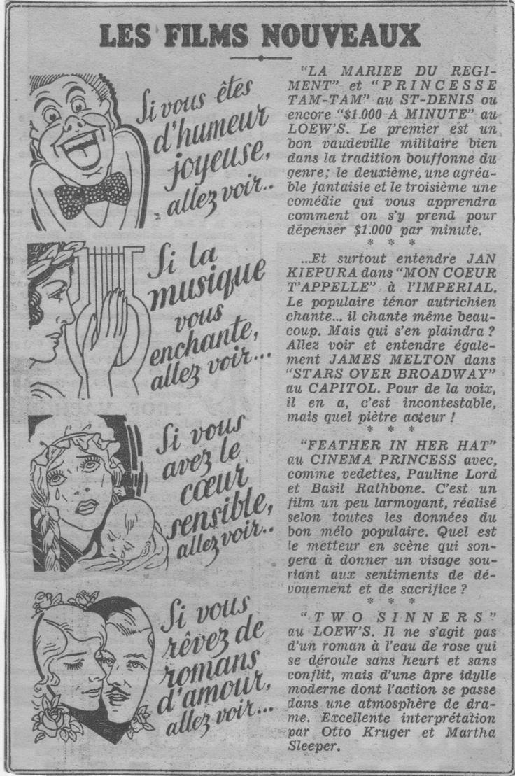 Publicité imprimée. (La Patrie,1936)