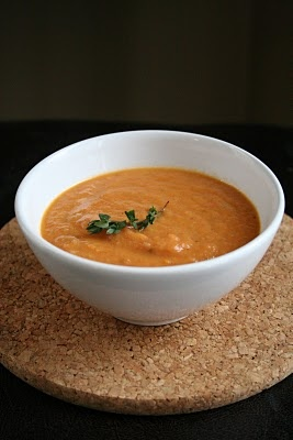 Roasted tomato soup with thyme from Sophie Dahl.  Made it, loved it.