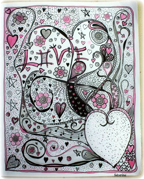 Séverine Art Journal Page http://originaldoodle.blogspot.fr/2015/05/challenge-1-heart.html