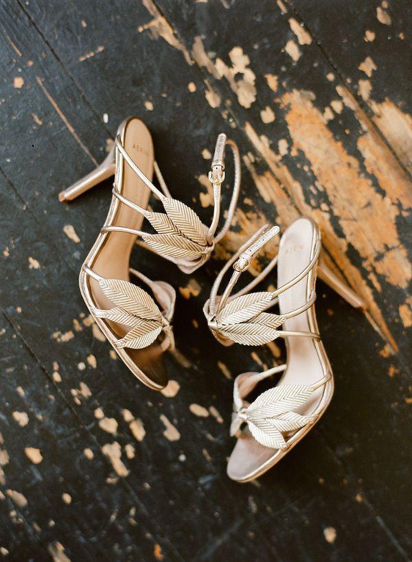 Elegant Gold Leaf Wedding Shoes | Whitney Neal Photography | The Gilded Age - A Dark Romance Wedding - http://heyweddinglady.com/gilded-age-dark-romance-wedding/
