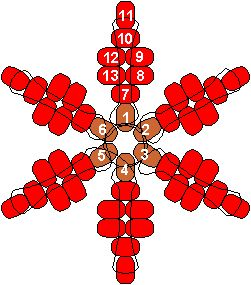 pony bead pattern for a snowflake if you use white beads (or poinsettia in red beads)