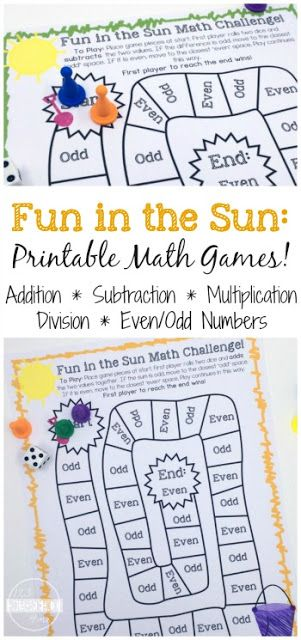 FREE Fun in the Sun Math Games to help kindergarten, first grade, second grade, third grade, fourth grade, and fifth grade practice addition, subtraction, multiplication and division. These math games are perfect for summer learning, homeschooling, math centers, after school, and more! LOW PREP!