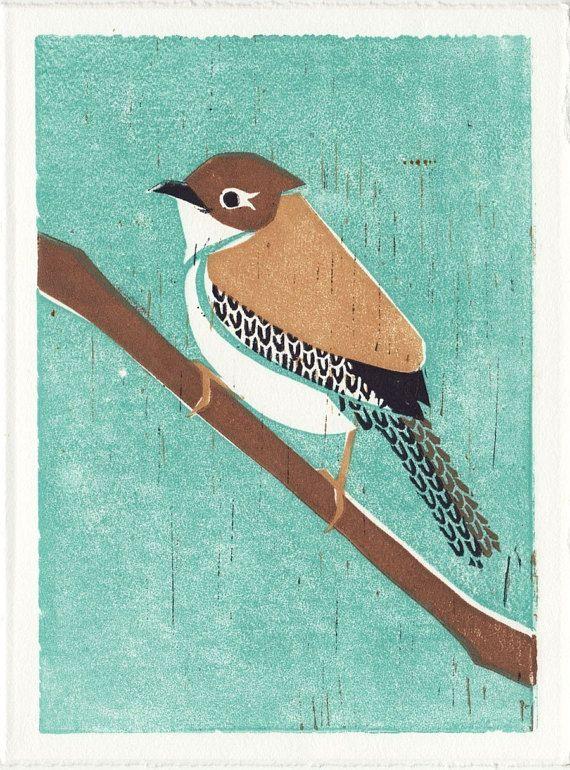 COMMON RAVEN Poster Size Reproduction Linocut Art Print: 8 x 10 9 x 12 11 x 14 12 x 16