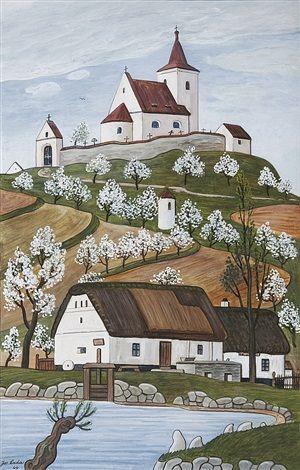 Mlýn s kostelíkem by Josef Lada