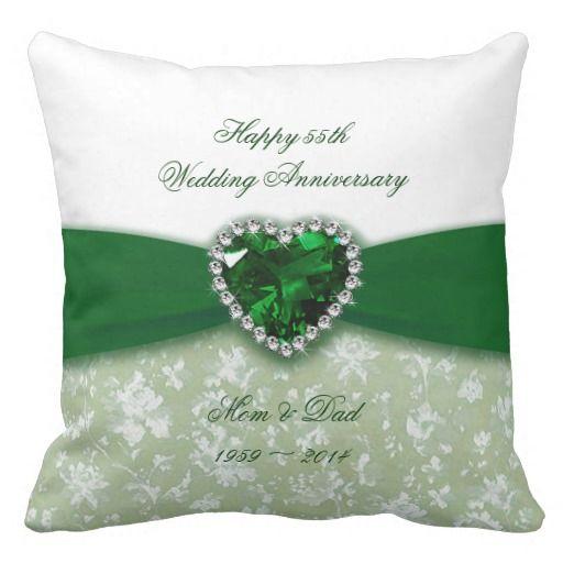 Damask 55th Wedding Anniversary Pillows