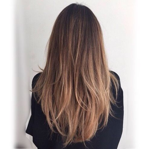 Long Straight Medium-Brown Hair with Layers and Honey-Brown Balayage