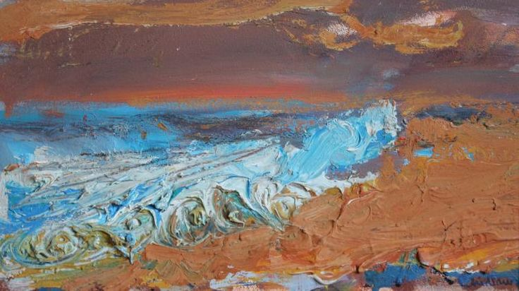"Paul Chidlaw (1900 - 1989), ""Beach Scene"", Original oil painting"