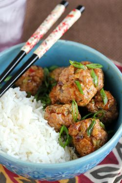 Sticky & Sweet Asian-style Meatballs -- could spice it up with Sriracha in the sauce