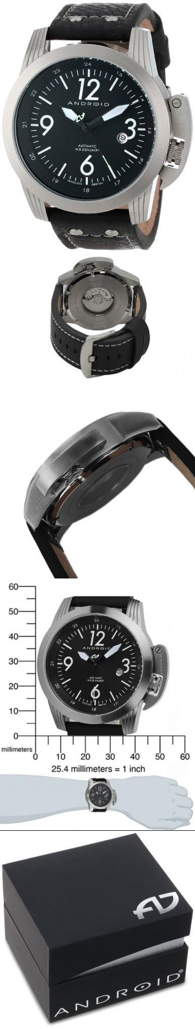 Android Men's AD614BK Skyguardian, Miyota 9015 Automatic 24 Jewels 28800 VPH Watch Miyota 9015 28800VPH. Crown: screw down. Bracelet measurements: 8.75''. Case measurements: 48x48. Case thickness: 17mm. Water-resistant to 200 M (660 feet).  #Android #Watch