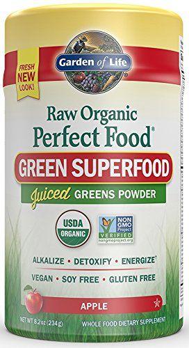 Garden of Life Vegan Green Superfood Powder - Raw Organic Perfect Whole Food Dietary Supplement Apple 8.2oz (234g) Powder