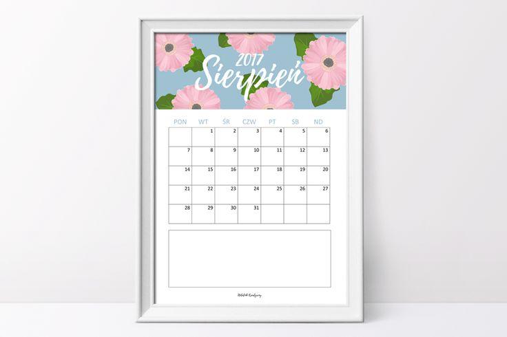 Kalendarz na sierpień do pobrania i wydruku  #calendar #2017calendar