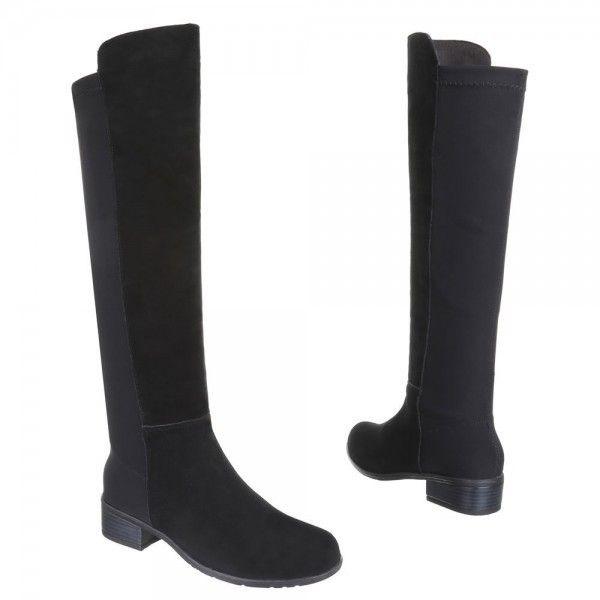 Knie-hoge Stretch Suède Laarzen Zwart via Polyvore featuring accessories