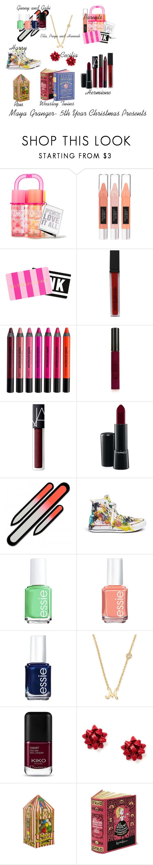 """""""Maya Granger- 5th Year Christmas Presents"""" by the-fault-in-our-paper-towns ❤ liked on Polyvore featuring Victoria's Secret, Smashbox, Urban Decay, Topshop, NARS Cosmetics, MAC Cosmetics, Rialto Jean Project, Essie, Sydney Evan and Bertie"""