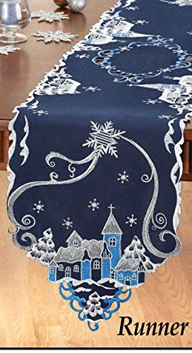 Christmas Town Snowy Night Beautiful Embroidered Table Runner