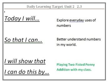 Math learning targets for the year!  Ready to print and post!  Grade 1 Everyday Math Daily Learning Targets