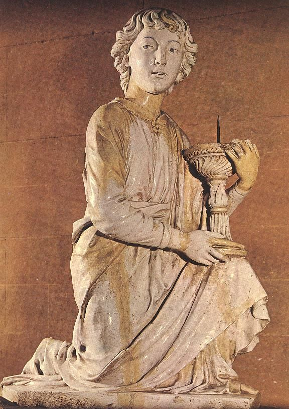 An angel bearing a candle by Luca della Robbia, 1448.