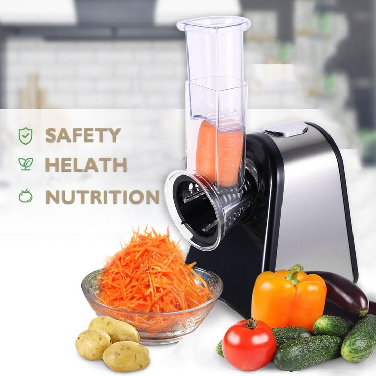 Professional Slicer/Shredder Machine, Automatic Salad Shooter, Vegetables Electric Slicer/Shredder with One-Touch Control and 4 Free Attachments for fruits, vegetables, and cheeses (Salad Shooter: 4 C