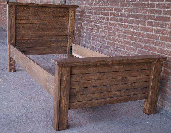 twin headboard foot board and rails rustic bed by furniturefarm 35000