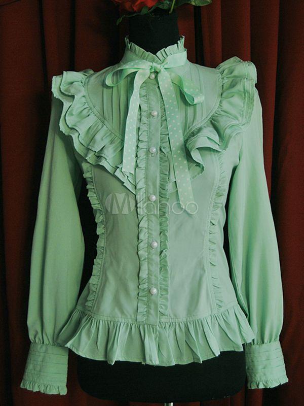Nova camisa de Lolita de babados Chiffon verde - Milanoo.com