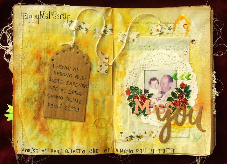 Libro alterato http://happymelscrap.blogspot.it/2015/10/older-book-miss-you.html