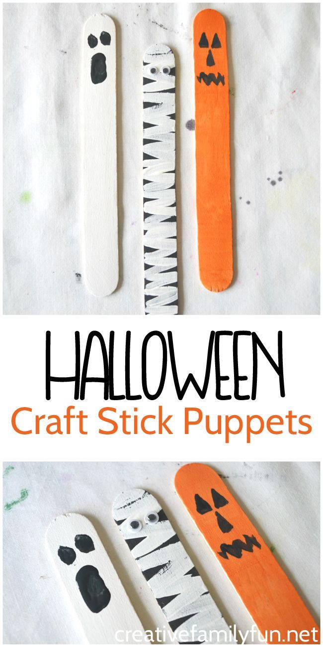 halloween puppets from craft sticks - Preschool Crafts For Halloween