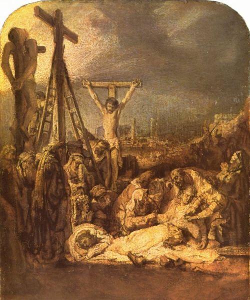 Rembrandt Harmensz. van Rijn.  Kreuzabnahme. 2. Drittel 17. Jh., Öl, auf Leinwand, auf Holz montiert, 33 × 27 cm. London, National Gallery. Niederlande (Holland). Barock.