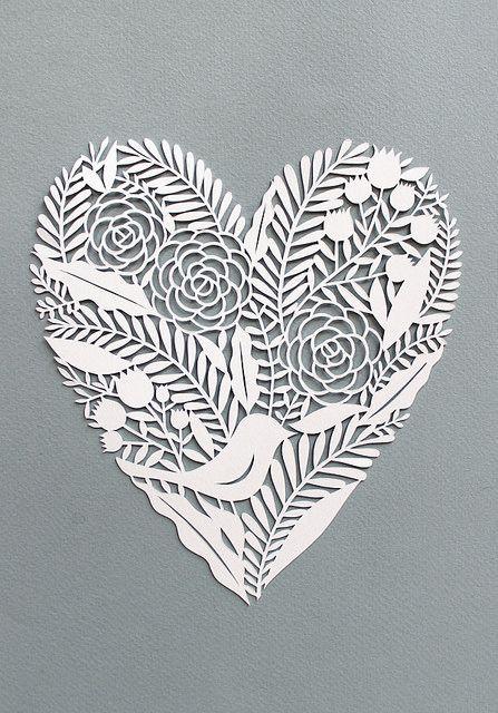 Coeur et oiseaux en dentelle