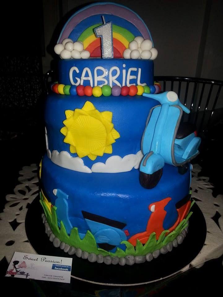 1 SPECIAL TORTA PRIMO COMPLEANNO VESPA E ARCOBALENO CAKE FIRST BIRTHDAY VESPA & RAINBOW