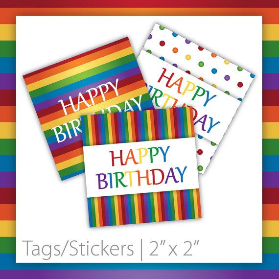 Rainbow Birthday Tags . Square  Rainbow by BlackCherryPrintable
