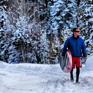 Jay Wild is not afraid of snowflakes... #hobie #laketahoe #SUP #StandUpPaddle