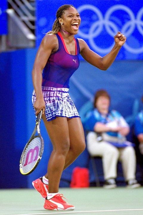 Serena Williams wore a tie-dye blue skirt in 2000.
