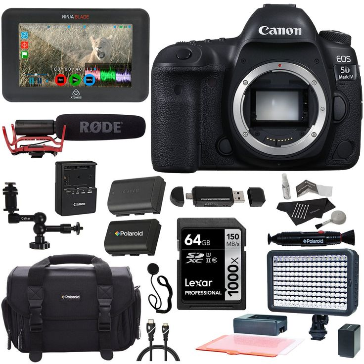 Canon EOS 5D Mark IV DSLR Camera Body, Atomos Ninja Blade, Rode VideoMic With Rycote Suspension System, Lexar 64GB, Polaroid Battery, LED Light, Card Reader and Accessory Bundle. Canon EOS 5D Mark IV Full Frame Digital SLR Camera Body CALUMET BUNDLE INCLUDES 10 ITEMS -- ALL BRAND NEW ITEMS WITH ALL MANUFACTURER-SUPPLIED ACCESSORIES + FULL USA WARRANTIES. Atomos Ninja Blade, Rode VideoMic With Rycote Suspension System, Lexar Professional 1000x 64GB Memory Card. Polaroid Elite LED Video…