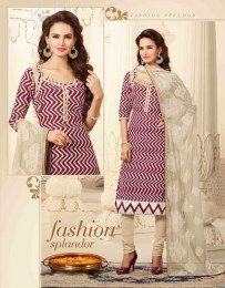 Maroon Color Zik Zak Pattern Work Unstitched Chanderi Fabric Straight Suit