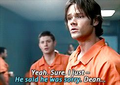 "Dean just snaps right into big brother mode, and puts himself between Sam and the convict. Then he's like ""how dare you not accept my bothers apology."""