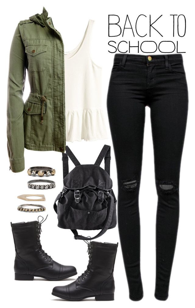 """""""905."""" by adc421 ❤ liked on Polyvore featuring moda, H&M, J Brand, Aéropostale, Iosselliani, BackToSchool y falljackets"""
