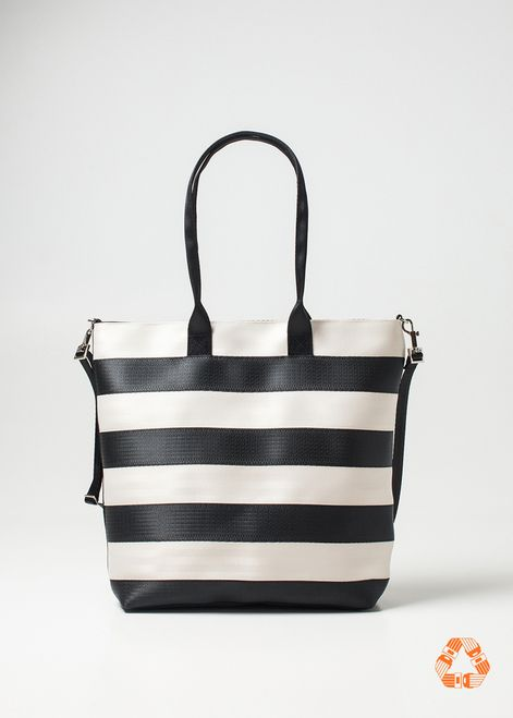 Streamline Large Tote Bag. Black and White Stripes. Shoulder Strap and detachable crossbody strap. Top zipper closure.