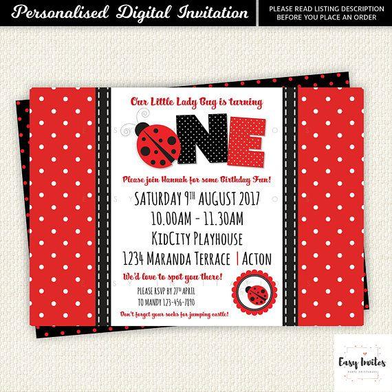 Ladybug Birthday Invitation, ladybird, baby shower, lady bug party, Printable, Digital, Lady Bug, Polka, lady Beetle invite, First, One