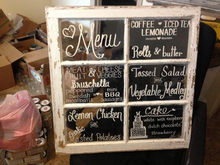 Antique window menu chalkboard. DIY wedding | Kayla ...