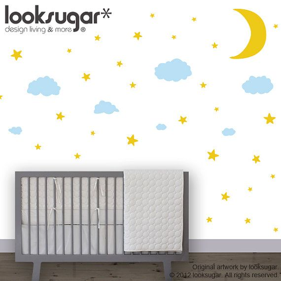 0086 - Moon Stars and Clouds Wall Decals - Night Sky Wall Stickers - Modern Nursery Wall Decals - Kids Wall Decals - Children Stickers via Etsy