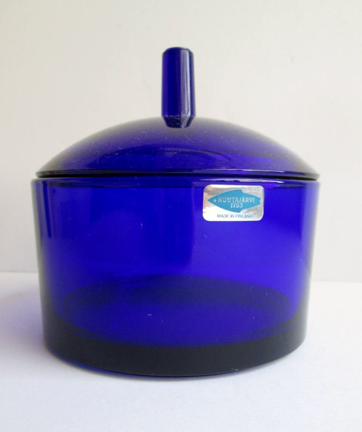 Pandora cobalt blue lidded box design Markku Salo 1989 by Nuutajärvi Notsjö (Iittala) Finland by SCALDESIGN on Etsy