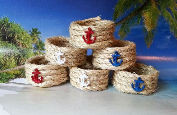 Nautical rope beach napkin rings with red white by beachseacrafts