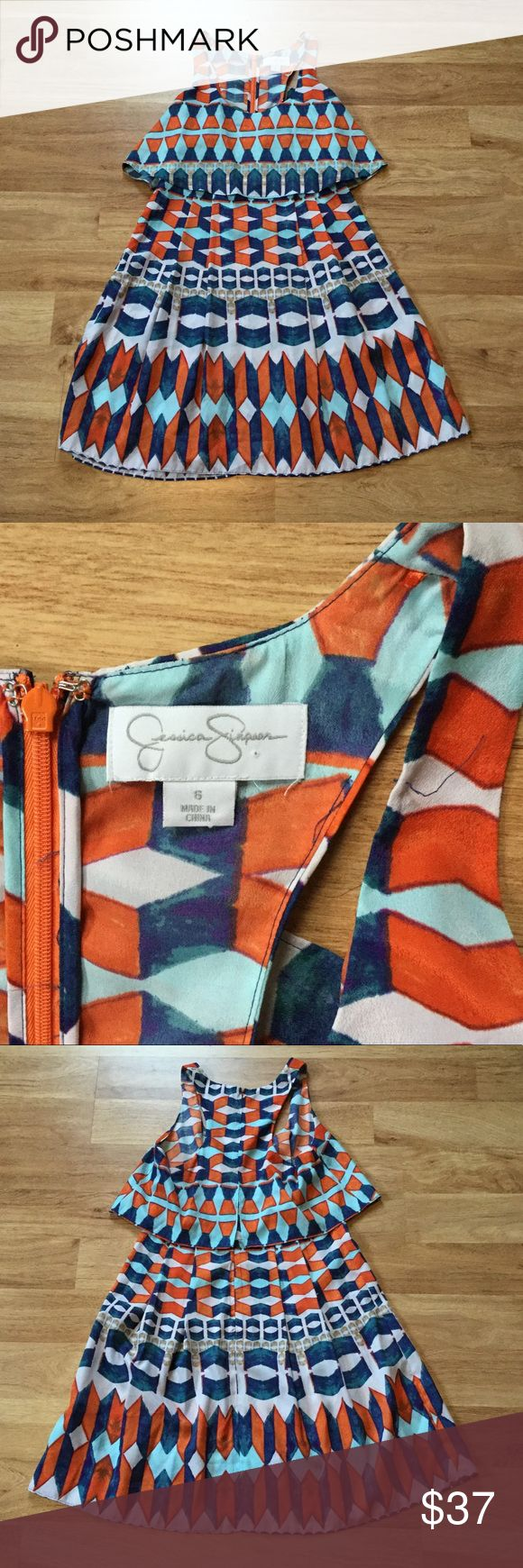 "Jessica Simpson summer tribal print dress Perfect condition, no defects. No lining, but nice and light for summer. Zips up the back with hook and eye closure. See size chart for measurements. Shoulder to hem 33.5"". Jessica Simpson Dresses"