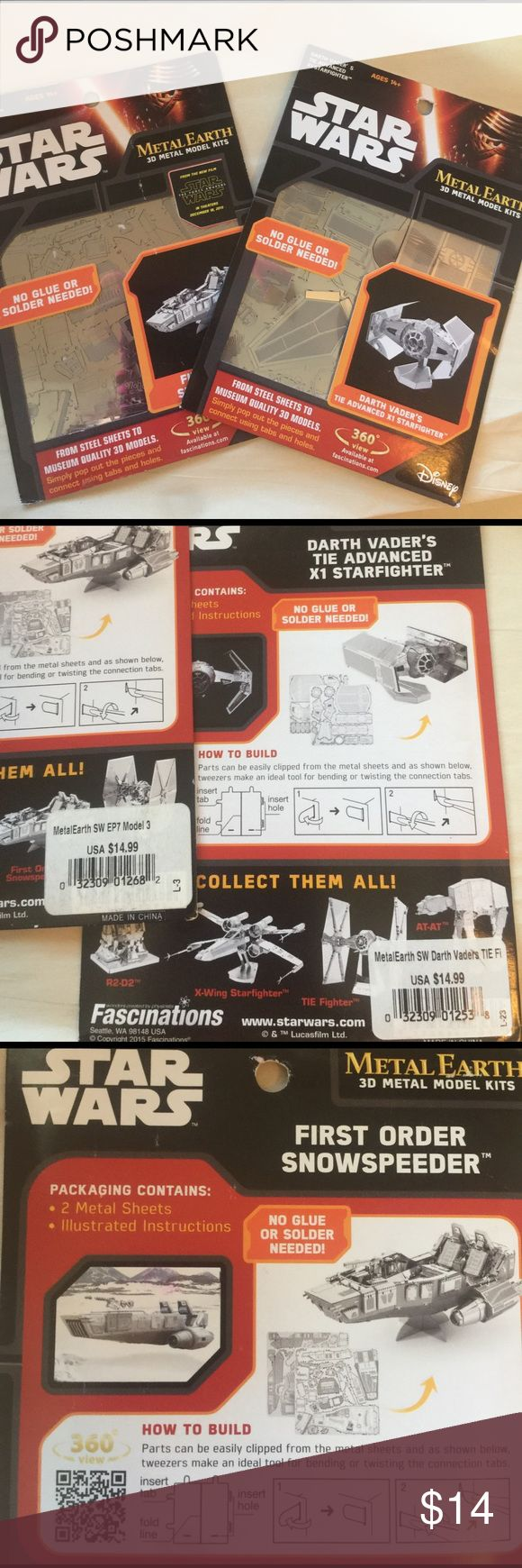 SET OF 2⭐Star Wars METAL EARTH 3D Metal Model Kit Brand new & unopened. Star Wars middle earth 3-D model model kits. No glue or solder needed. Real metal! These things are super cool. Star Wars Other