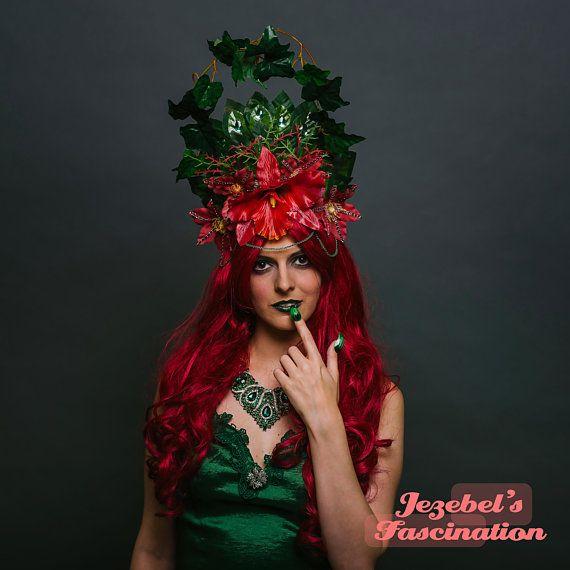 Dark Green Rose Headband Flower Crown Rose Crown Poison Ivy Costume Cosplay