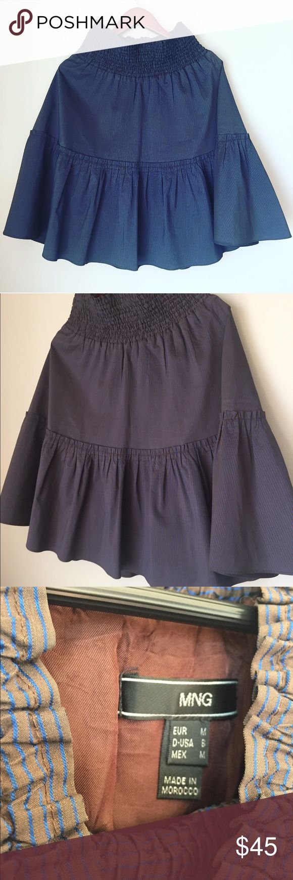 MANGO purple circle ruffle skirt Like new condition. Very cute and sexy. Amazing material. Stripes. Can fit S or M Mango Skirts Circle & Skater