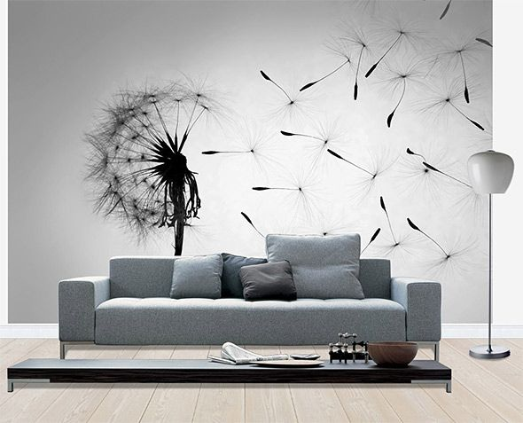 Dandelion - Black White -valokuvatapetti, Photowall
