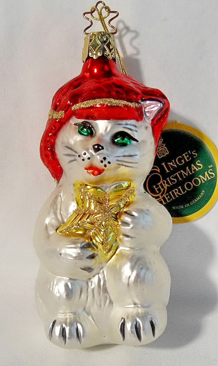 German glass ornaments - Inge Glas Kitty With Red Cap Christmas Ornament 1141 Cat Kitten 15 49