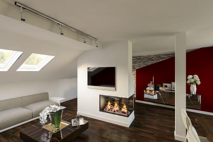 Obývací pokoj - pohled na krb