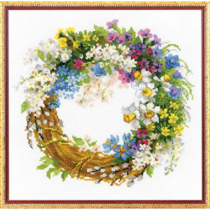 Wreath with Bird Cherry by Riolis, counted cross stitch kit